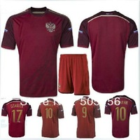 free shipping custmoize 2014 world cup DZAGOEV 17 KOKORIN 9 ARSHAVIN 10 Russia home red soccer jerseys uniforms 2014 world cup