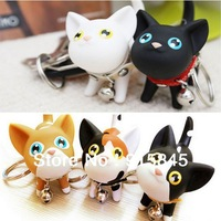 Free Shipping 20pcs/lot kate cat couple key chain small keychain ring Fashion Jewelry Birthday gift 5 Colors