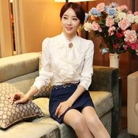 Spring 2014 elegant ol fashion stand collar lace chiffon shirt female long-sleeve