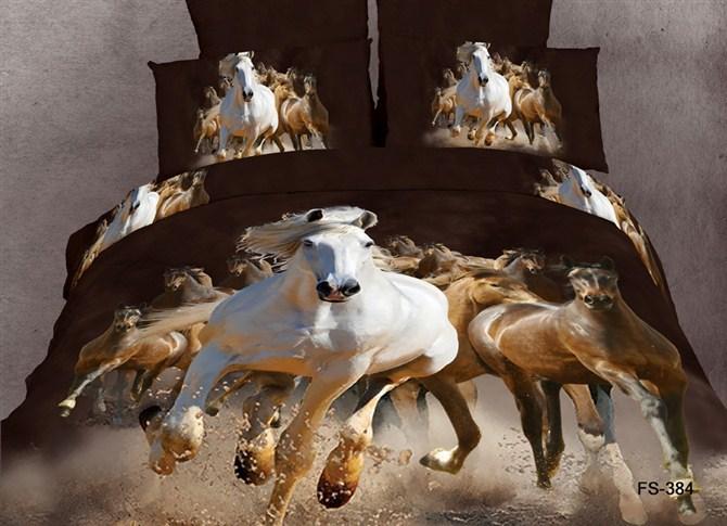 3D denim cotton denim fashion cotton bed linen quilt bedding products horse Pentium 4 sets(China (Mainland))