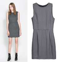 2014 xiaxin female fashion small plaid casual sleeveless slim waist one-piece dress tank dress short skirt