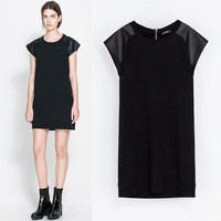 2014 spring fashion women's water wash PU loop pile 100% patchwork cotton slim one-piece dress