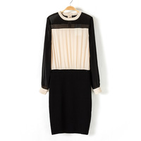 2013 women's spring fashion all-match o-neck puff sleeve black and white color block decoration one-piece dress