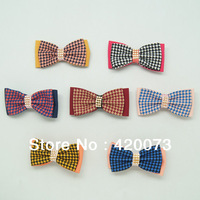 "12 Pcs/lot 4"" Houndstooth Hair Bow With Clips For Baby Kids Bling Hair Clip Women Hair Accessories CNHBW-14022101"