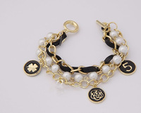 FREE SHIPPING 2014 Trendy Gold Plated Alloy Pearl Clover Pendant Bracelet  & Bangle For Women Fashion Jewelry