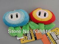 "2""5CM Super Mario Bros Flower Plush Keychain plush Toys Stuffed Dolls Kids Toys 5sets"