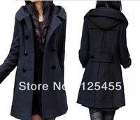 Women's Wool Blend Double Breasted Hooded Long Coats Jacket Black/Dark Gray