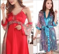 Ladies pajamas silk condole belt chiffon robe two-piece household to take