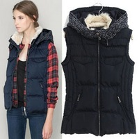 2014 New Fashion Women's Plus Size Vest With Hood Europe and America Vest Slim Vest Free Shipping ZX0279