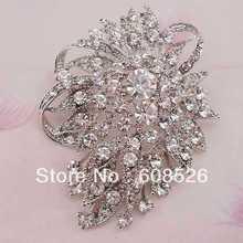 Free Shipping 1 piece Bridal Brooch Big Clear rhinestone Flower Brooch Broach Pin Crystals, item no.: BH7655