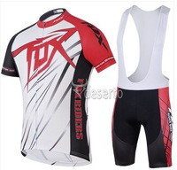 FOX RIDE red 2014 yellow team Cycling Jersey + short BIB Short Set Cycle Wear Bike clothes Bicycle Short Wear Summer