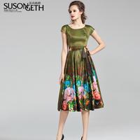 2014 women's spring o-neck short-sleeve expansion bottom print slim chiffon one-piece dress lyq-4100