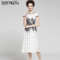 2014 spring and summer flowers elegant dress slim chiffon one-piece dress lyq-959a