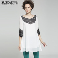 2014 spring women's chiffon top short-sleeve lace solid color chiffon shirt sy-2013