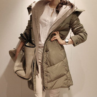 free shipping 2013 women's thickening coat medium-long down jacket lady's fashion solid winter outerwear