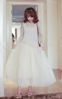 Princess 2014 spring ubiquitous1 irregular thin knitted sweater spaghetti strap gauze full dress 2 piece set