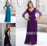 2014 Exquisite Custom Made Half Sleeves V-Neck Crystal Beaded Chiffon Sepcial Occasion Prom Gowns Long Formal Evening Dresses