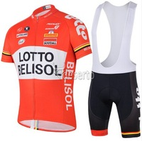 LOTTO BELISOL red 2014 yellow team Cycling Jersey + short BIB Short Set Cycle Wear Bike clothes Bicycle Short Wear Summer