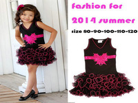 Retail 2014 summer fashion mini baby dress bowtie rhinestone casual party girl dress princess sleeveless V-neck girl clothing