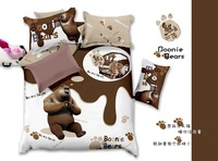 New cartoon printed cotton denim fashion cotton bedding Princess Bedding Quilt Bear Comes