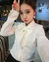 2014 spring fashion all-match hot-selling pearl lacing bow white shirt