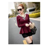 2013 fish tail skirt sweater sweet ruffle basic shirt slim waist slim sweater female