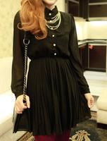 2013 autumn and winter all-match laciness pleated basic long-sleeve chiffon skirt dress women's plus size