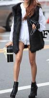 Women's medium-long fur vest faux wool outerwear vest outerwear female