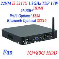 Hot Selling Mini-itx Computer HTPC INCTEL I3 3217u 1.8Ghz support PXE Linux Ubuntu Windows High Performance 1G RAM 80G HDD