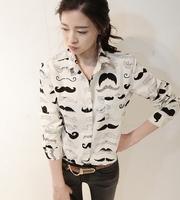 2014 spring female personality all-match print long-sleeve shirt basic shirt