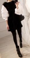 Winter one-piece dress female long-sleeve knit dress lantern sleeve o-neck patchwork basic skirt female