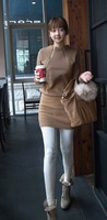 Fashion elegant 2013 sweatshirt brushed long-sleeve o-neck double zipper slim hip one-piece dress