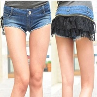 Freeshipping Sexy lace New Fashion Women Lace removable Short Jeans Fashion Hot Short Summer Jeans Pants Denim Blue Shorts 34234