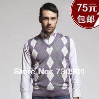 Spring male fashion V-neck sleeveless sweater vest plaid waistcoat  Male Formal Vest Men Fashionable Vests