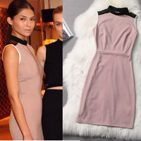 Free Shipping Victoria style Old Pink Elegant Slim Dress 140221QQ01