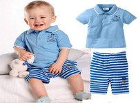 New 2014 spring summer fashion stylish baby boy clothing set Turn-down Collar 2 pcs T-shirt+pants short sleeve children clothing