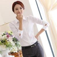 New 2014 large size women's spring models long-sleeved white blouse Slim OL chiffon shirt women wear