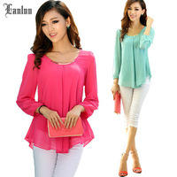 New Arrival Multicolor Optional Korean Stylish Spring Long Sleeve Chiffon Tops Women Shirts SP669