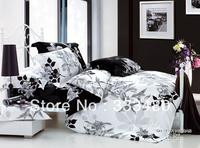 Good quality & Promotion ! 100% Cotton fashion White Flower print 4pcs bedding sets