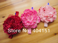 10pcs/lot handmade big silk mesh peony flower headbands,for infant baby kids girls fashion head band hair accessories