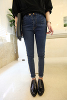 Free Shipping 2014 autumn fashion all-match buckle dark color high waist denim trousers 3066
