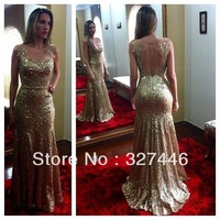 Mermaid 2014 Hot&sexy Illusion Long Pageant Gowns Abendkleider Gold Sequined Evening Dresses Vestidos De Fiesta Robe De Soiree