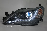 Angel Eyes LED Head Lamp Light Headlight With HID Bulbs and Ballast for Toyota Reiz 2011