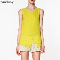 2014 new fashion woman's tops patchwork chiffon white sleeveless summer o-neck blouse xxl