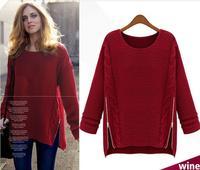 Fashion  2014 Women New Long Sleeve Pullovers celebrity style winter Zipper knitwear Sweater free shipping