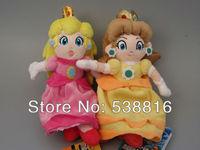 Super Mario bros 20cm Princess Peach and Embrace mario Plush toys 2pcs/set Free Shipping
