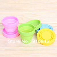 Free Shipping 12pcs/lot novelty travel Folding retractable silica gel Portable Cup outdoor water glass