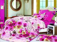 Good quality & Promotion ! 100% Cotton LOVE rose  print 4pcs bedding sets