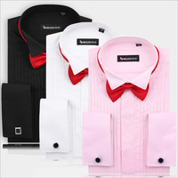 2014 New Style Wedding Solid men's shirt Suitable for Dress Bridegroom Cotton blended 3 Color Size:6-10
