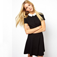 New Spring! Fashion Popular Contrast Color Lady Pleated Dresses Short Sleeve Turn Down Collar Blue and Black Free CPAM 022009